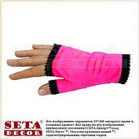Ярко-малиновые перчатки (митенки) атласные короткие без пальчиков