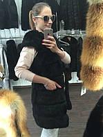 Жилет меховой из кролика с плечиками, производство Украина продажа оптом и в розницу