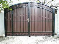 Ворота кованые + профнастил внутри калитка M100PR