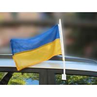 Флаг Украины  автомобильным с флагштоком 30*20 см, фото 1
