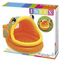 Надувной детский бассейн Рыбка Intex 57109, оранжевый, для детей старше 1 года, 124*109*71см