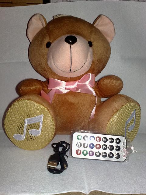 Мини спикер.Акустическая мини система мягкая игрушка FM/USB/CD.