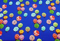 Креп- шифон   бабл (зонтики на синем)