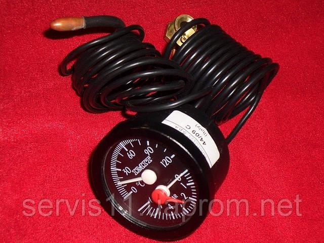 Термоманометр диаметр 52мм, диапазон 0-120 С, 0-6 Бар, капилляр -1500мм, чуств. элемент — ф6,5*25мм - Интернет-магазин запчастей для газовых котлов HERMANN.COM.UA в Кропивницком