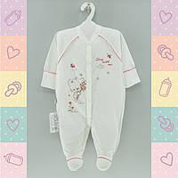 Человечки для новорожденных девочек,Хлопок-Кулир, 1432роз,  0-5 месяцев,В наличии_56_62,Рост