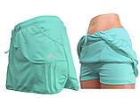 Шорты для тенниса (теннисные шорты) - юбка шорты для тенниса.  Юбка спортивная бирюзовая. Мод. 4051., фото 9