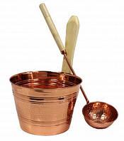 Набор медь (шайка 4л + черпак) для бани и сауны