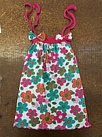 Сарафан для девочки с бантиками в цветочек летний