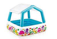 """Детский надувной бассейн с крышей """"Аквариум"""" 57470, клапан для слива воды, 280 литров"""