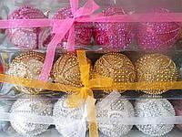 Шар новогодний с бусинками 4 (цена за набор)