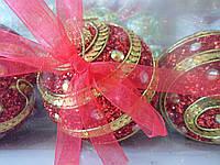 Шар новогодний с бусинками 7 (цена за набор)