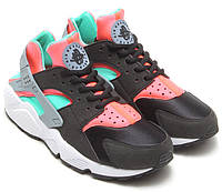 Женские кроссовки Nike Air Huarache Black/Mint/Hot Lava Реплика