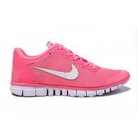 Женские розовые летние кроссовки Nike (Найк) Free 3.0 v2 WMNS Реплика, фото 1