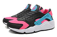 Женские кроссовки Nike Air Huarache Black/Pink/Dusty Cactus Реплика