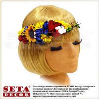 """Венок украинский """"Полевые цветы"""" на голову с подсолнухом на завязках"""