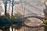 """Фотообои """"Мост над рекой"""", Фактурная текстура (холст, иней, декоративная штукатурка)"""