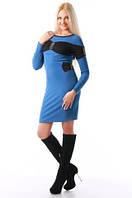 Стильное женское платье открытая спина синее