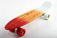 Пенни Борд (Penny Board) с ручками (триколор - красный, оранжевый, белый)