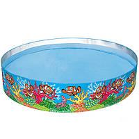 55031 Bestway детский бассейн Рыбки, наливного типа, высота бортиков 46 см, диаметр 244см