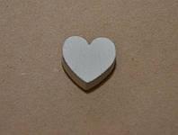 Декоративное сердце, 1,8 см*2 см, цвет белый