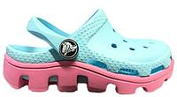 Детские кроксы Crocs Classic Cayman Light Blue Pink голубые