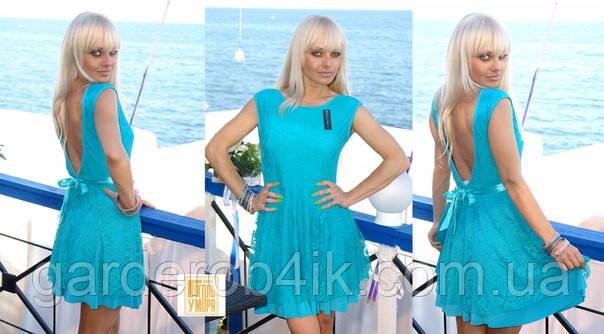 Стильное гипюровое  платье, открытая спина