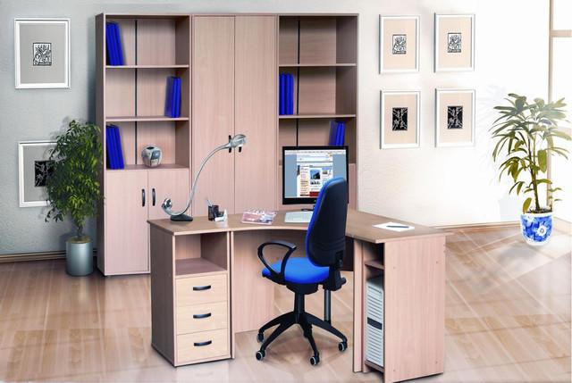Модульная коллекция мебели Омега в интерьере. Цветовая гамма дерева в ассортименте.