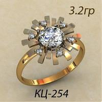 Модное Золотое женское кольцо 585 *с фианитами