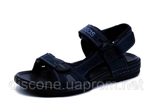 Сандалии Adidas, мужские, кожаные, темно-синий