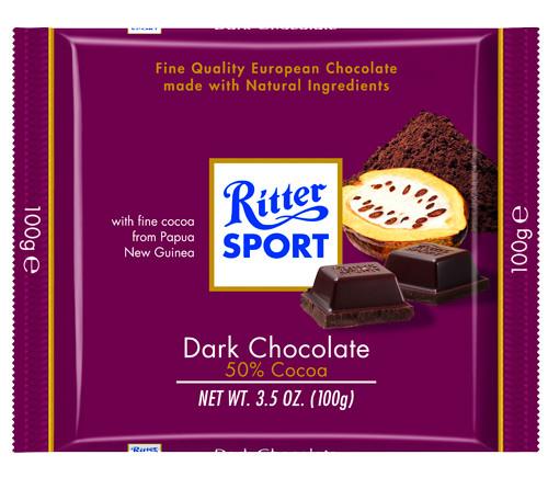 Шоколад Ritter Sport Dark Chocolate 50% cacao (Риттер Спорт черный шоколад), 100 г