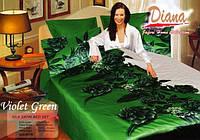 Комплект постельного белья Атласный Diana Violet-green простынь на резинке