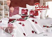 Комплект постельного белья Атласный Diana Dear простынь на резинке