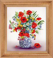 """Набор для рисования камнями 5D (частичная выкладка на холсте) """"Полевые цветы"""" LasKo"""