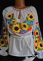Вышиванка на поплине для девочки «Украинские подсолнухи для панянки» 98-146 рост