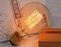 Лампочка накаливания g80-1 Лампа Эдисона Е27 круглая диаметр 80мм свечение беличья клетка