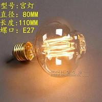 Лампочка накаливания t400 Лампа Эдисона Е27. Декоративный свет вольфрам. Свечение беличья клетка