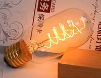 Лампочка накаливания t45-3 Лампа Эдисона боченок Е27. Декоративный свет вольфрам. Свечение спираль