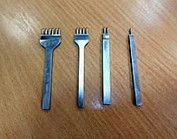 Пробойник шаговый для кожи 1+2+4+6 зубьев шаг 4мм пробойцы шаговые просечки вилковые инструмент для кожи