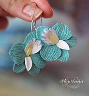 """Авторские серьги """"Бирюзовые орхидеи"""" ручной работы из полимерной глины, фото 1"""