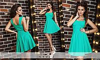 Стильное бирюзовое платье, пышная юбка. Арт-5475/43