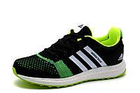 Кроссовки Adidas Adistar Boost, унисекс, текстиль, черные с салатовым, фото 1