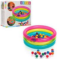 Детский бассейн с шариками 48674 Intex, 86х25 см, винил 0,2мм, 50 шариков, 3 кольца