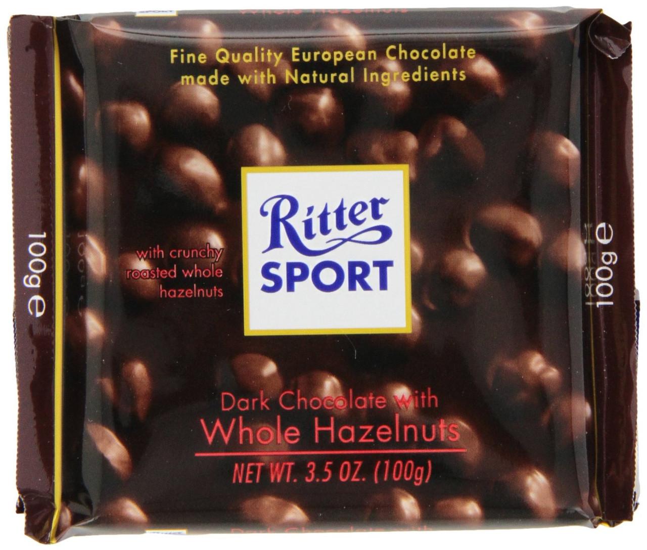 Шоколад Ritter Sport Dark Whole Hazelnuts (Риттер Спорт с фундуком), 100 г