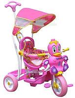 """Велосипед детский трехколесный с ручкой """"Little Duck"""" розовый"""