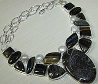 Красивое ожерелье из натуральных камней - Черепаховый Агат, Тигровый Глаз, Соколиный Глаз, Жемчуг