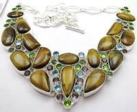 Яркое колье, ожерелье из натуральных  камней - ТИГРОВЫЙ ГЛАЗ И МУЛЬТИКАМНИ