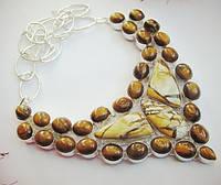 Яркое колье, ожерелье из натуральных  камней - ШИКАРНЫЙ ТИГРОВЫЙ ГЛАЗ, МУКАИТ