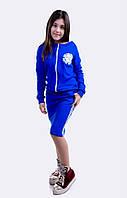 Детский юбочный синий костюм двойка с принтом. Арт-5476/44