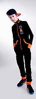 Детский чёрный спортивный костюм турецкая двух нить (девочка,мальчик) .  Арт-5477/44