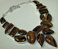 Яркое колье, ожерелье из натуральных  камней - ШИКАРНЫЙ ТИГРОВЫЙ ГЛАЗ